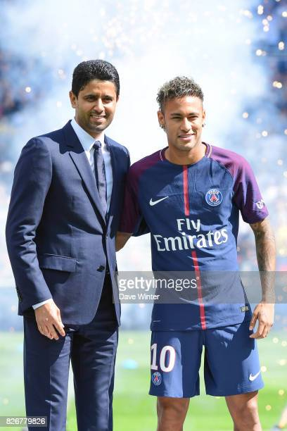 Record new signing Neymar JR of PSG is presented to the crowd by PSG president Nasser AlKhelaifi before the Ligue 1 match between Paris Saint Germain...