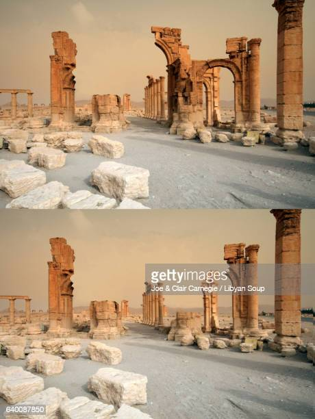 Record of the destruction of the Arch of Triumph Palmyra Syria