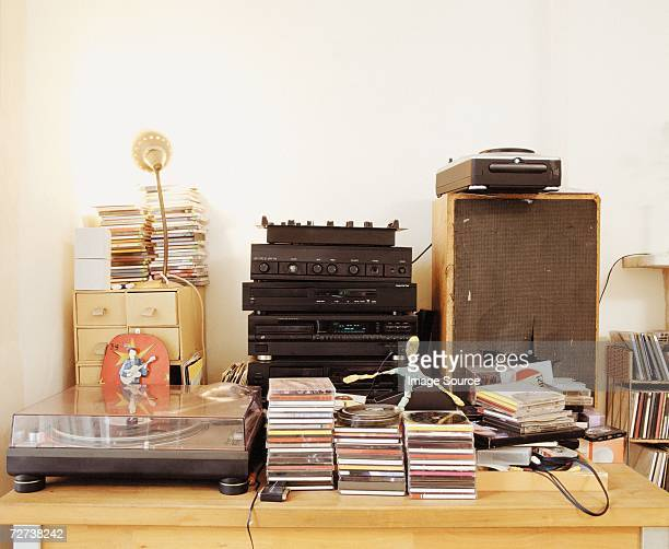 A record player and a music system