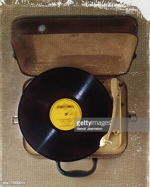 Record player, elevated view