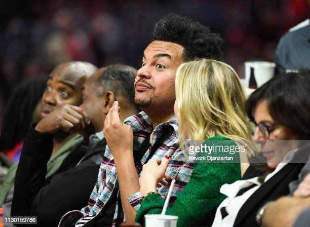 Record producer Alex da Kid and a guest attend the Portland Trail Blazers and Los Angeles Clippers basketball game at Staples Center on March 12 2019...