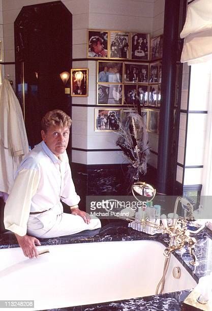 Record producer and songwriter Mickie Most portrait in his office at home in Totteridge London circa 1988