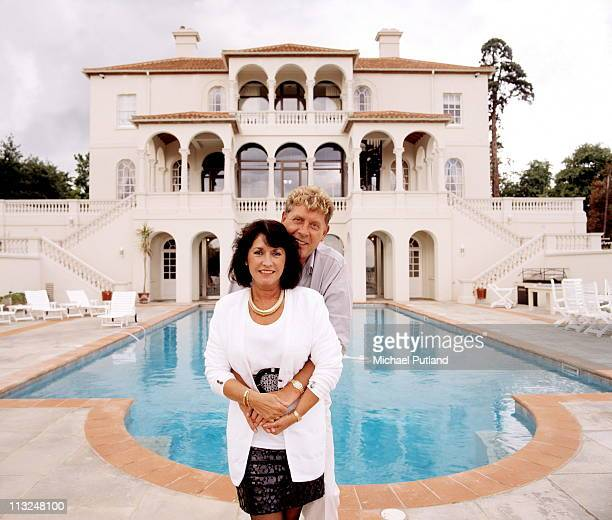 Record producer and songwriter Mickie Most with his wife Christina at their home in Totteridge London circa 1988