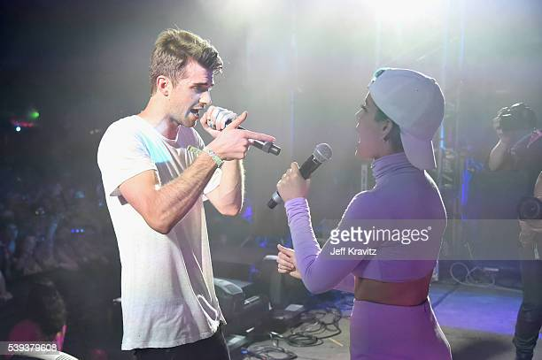 Record producer Andrew Taggart of The Chainsmokers and recording artist Halsey perform onstage at This Tent during Day 2 of the 2016 Bonnaroo Arts...