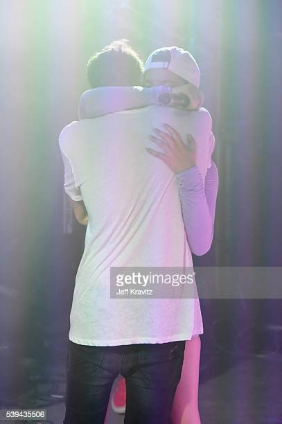 Record producer Andrew Taggart of The Chainsmokers and recording artist Halsey perform onstage at XXX during Day 2 of the 2016 Bonnaroo Arts And...