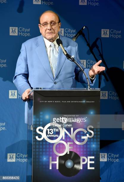 Record producer Clive Davis speaks at City of Hope's Music, Film and Entertainment Industry's Songs of Hope Event on September 28, 2017 in Sherman...