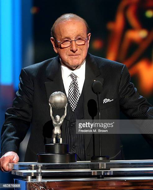 Record producer Clive Davis speaks onstage during the 46th NAACP Image Awards presented by TV One at Pasadena Civic Auditorium on February 6 2015 in...