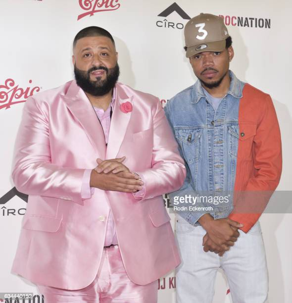 Record producer DJ Khaled and hiphop artist Chance the Rapper attend a press conference at The Beverly Hills Hotel on February 9 2017 in Beverly...