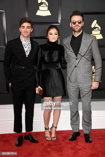 Record producer Drew Taggart of The Chainsmokers singer Daya and record producer Alex Pall of The Chainsmokers attend The 59th GRAMMY Awards at...