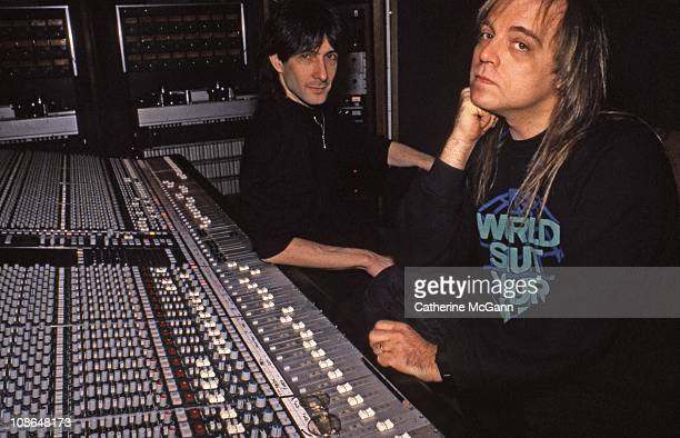 Record producer Ed Stasium and musician Lenny Kaye pose for a portrait in March 1988 in New York City New York