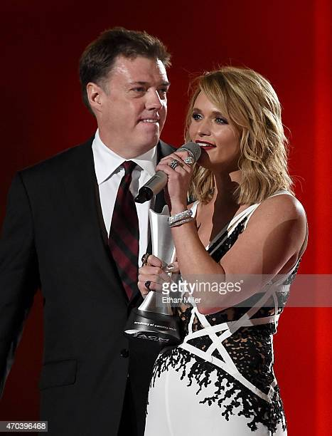 Record producer Frank Liddell and honoree Miranda Lambert accept the award for Album of the Year for Platinum onstage during the 50th Academy of...