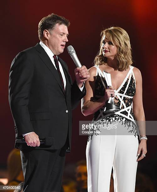 Record producer Frank Liddell and honoree Miranda Lambert accept the award for Album of the Year for 'Platinum' onstage during the 50th Academy Of...