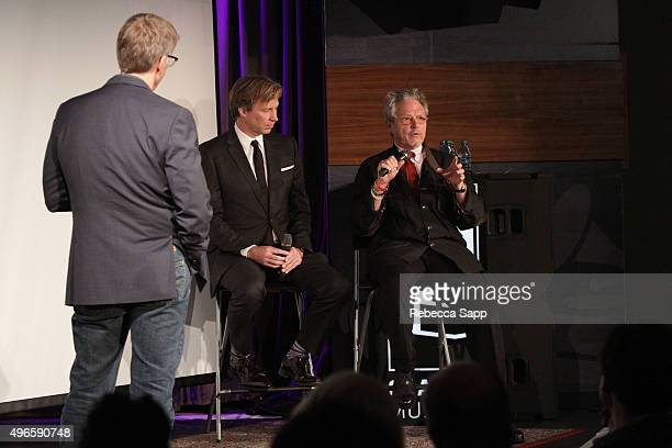 Record producer Giles Martin and director Michael LindsayHogg speak with Executive Director of the GRAMMY Museum Bob Santelli at The Beatles 1 A...