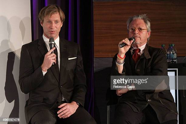 Record producer Giles Martin and director Michael LindsayHogg speak onstage at The Beatles 1 A Conversation With Giles Martin And Michael LindsayHogg...