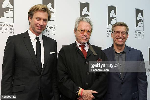 Record producer Giles Martin director Michael LindsayHogg and Executive Director of the GRAMMY Museum Bob Santelli at The Beatles 1 A Conversation...