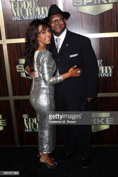 Record producer Jimmy Jam and Lisa Padilla arrive at Spike TV's Eddie Murphy One Night Only at the Saban Theatre on November 3 2012 in Beverly Hills...