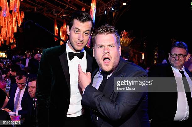 Record producer Mark Ronson and tv personality James Corden attend the launch of the Parker Institute for Cancer Immunotherapy an unprecedented...