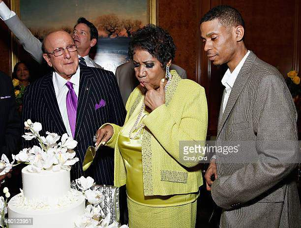 Record producer/ music industry executive Clive Davis singer Aretha Franklin and Kecalf Cunningham attend Aretha Franklin's 72nd Birthday Celebration...