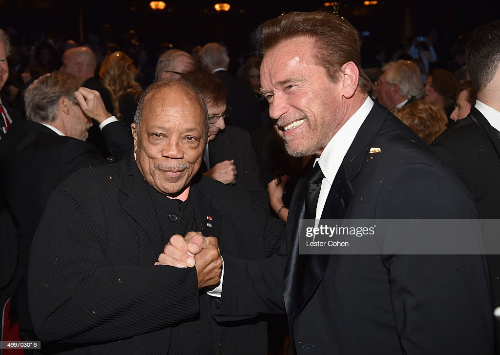 Record producer Quincy Jones and actor Arnold Schwarzenegger 'Sinatra 100: An All-Star GRAMMY Concert' celebrating the late Frank Sinatra's 100th birthday at the Encore Theater at Wynn Las Vegas on December 2, 2015 in Las Vegas, Nevada. The show will air on CBS on December 6.