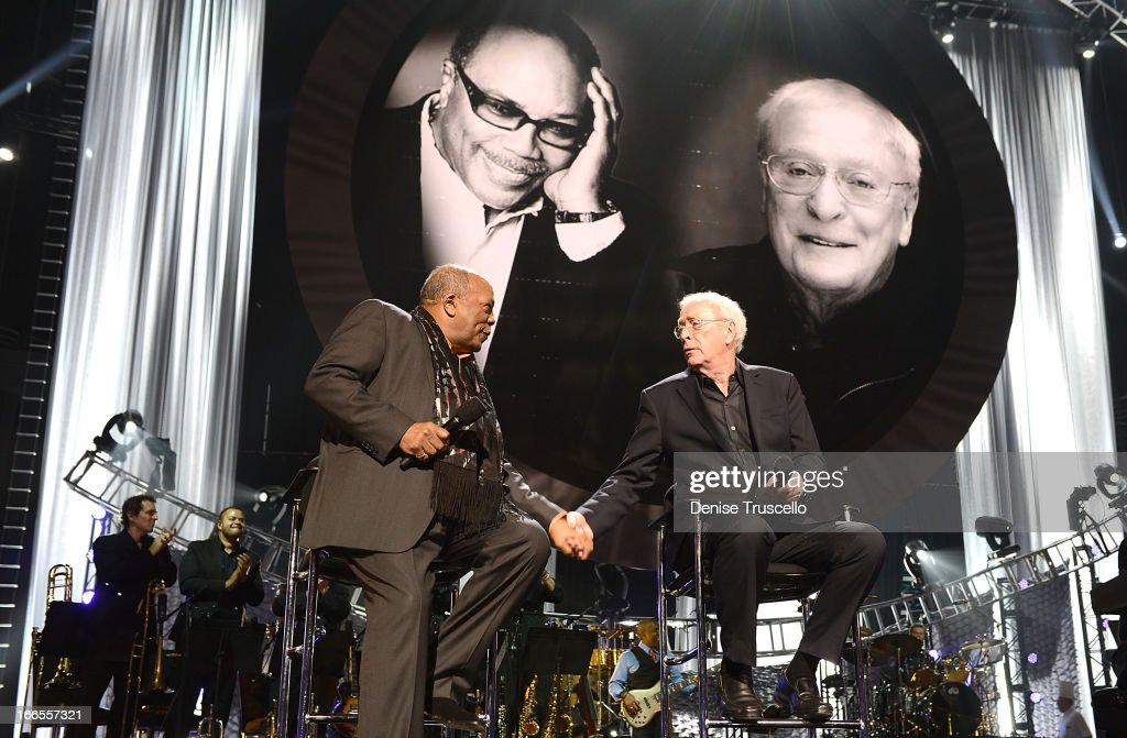 Record producer Quincy Jones (L) and actor Sir Michael Caine greet each other onstage during the 17th annual Keep Memory Alive 'Power of Love Gala' benefit for the Cleveland Clinic Lou Ruvo Center for Brain Health celebrating the 80th birthdays of Quincy Jones and Sir Michael Caine on April 13, 2013 in Las Vegas, Nevada.