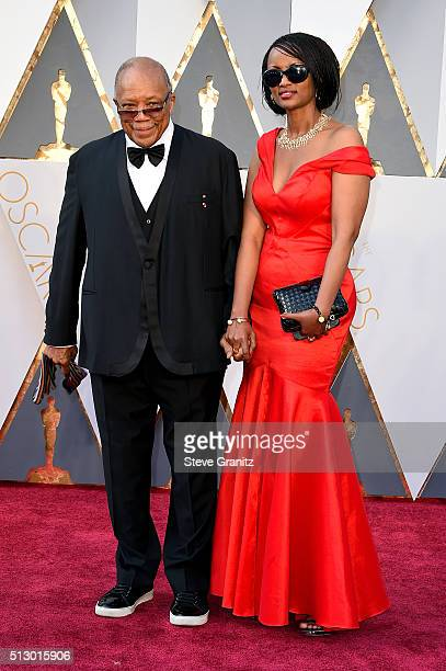 Record producer Quincy Jones and guest attend the 88th Annual Academy Awards at Hollywood & Highland Center on February 28, 2016 in Hollywood,...