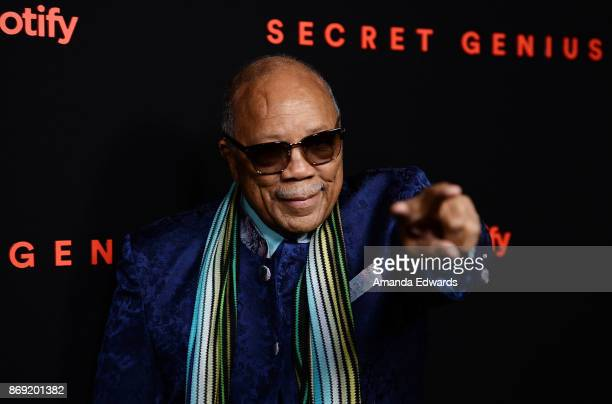 Record producer Quincy Jones arrives at Spotify's Inaugural Secret Genius Awards on November 1 2017 in Los Angeles California