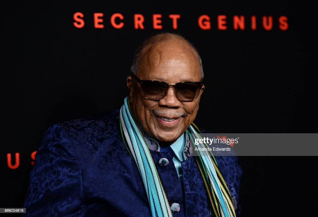 Record producer Quincy Jones arrives at Spotify's Inaugural Secret Genius Awards on November 1, 2017 in Los Angeles, California.