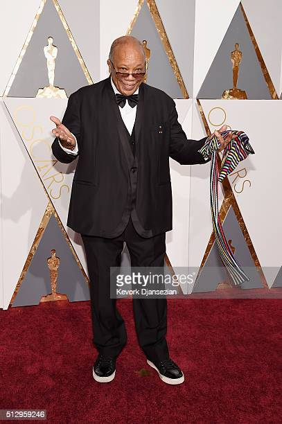 Record producer Quincy Jones attends the 88th Annual Academy Awards at Hollywood Highland Center on February 28 2016 in Hollywood California