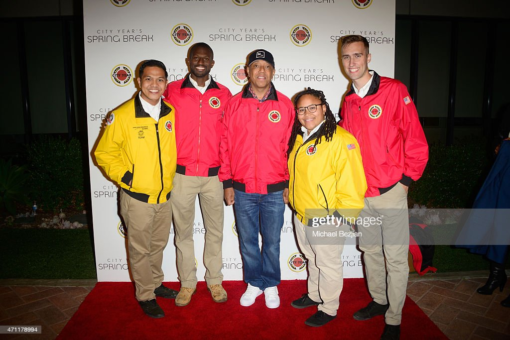 Record producer Russell Simmons (C) attends City Year Los Angeles Spring Break at Sony Studios on April 25, 2015 in Los Angeles, California.