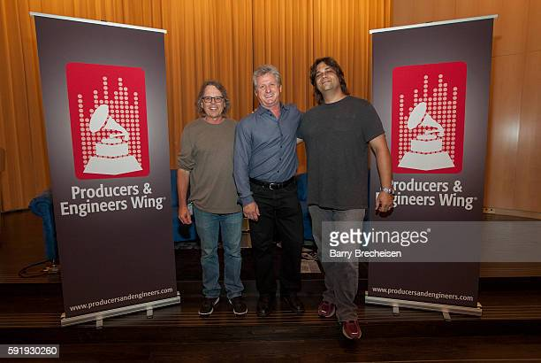 Record producer Terry Date Shure's Mark Brunner and record producer Nick Raskulinecz during the GRAMMY Behind the Glass with Terry Date and Nick...