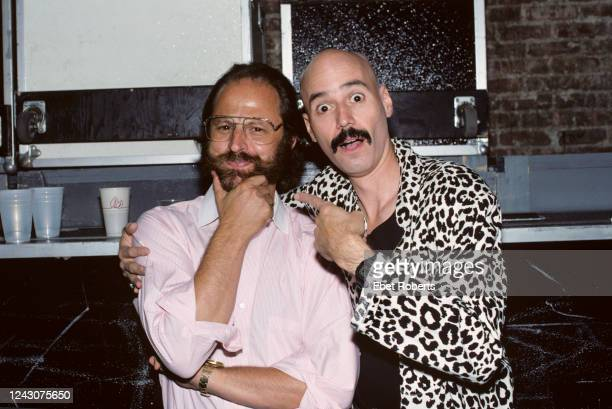 Record producer/engineer Eddie Kramer and guitarist Bob Kulick backstage at the Brooklyn Academy Of Music in Brooklyn New York on August 18 1988