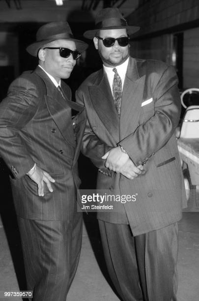Record producers Terry Lewis and Jimmy Jam pose for a portrait backstage at the Met Center in Bloomington, Minnesota on March 27, 1991.