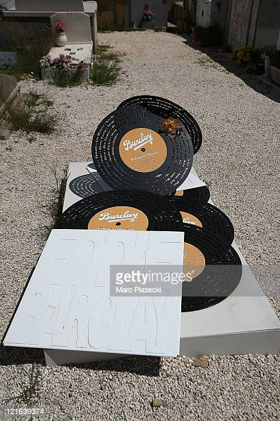 Record shaped headstone of music producer Eddie Barclay in the cemetery on August 9, 2011 in St Tropez, France.