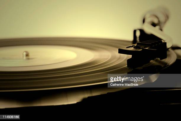 Record spinning on record player