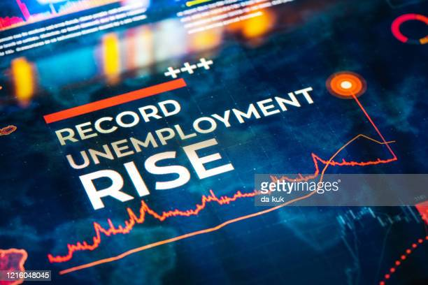 record unemployment rise statistics with charts and diagrams - being fired photos stock pictures, royalty-free photos & images