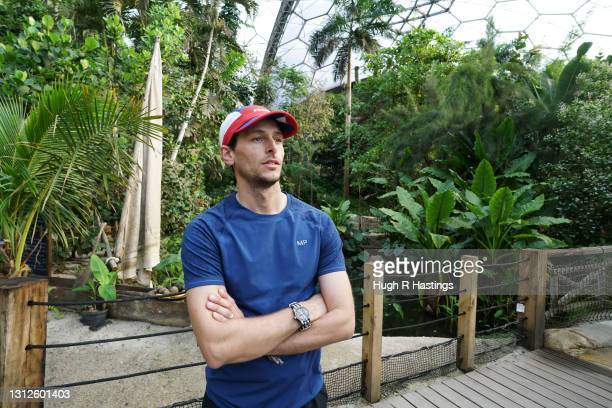 Record-breaking marathon man Nick Butter takes a break from training for his 5,000-mile Run Britain attempt in the humidity of the Rainforest Biome...