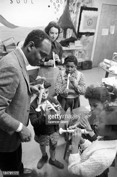 Recorder lesson for black schoolchildren, Roxbury, Boston, Massachusetts, 1971.