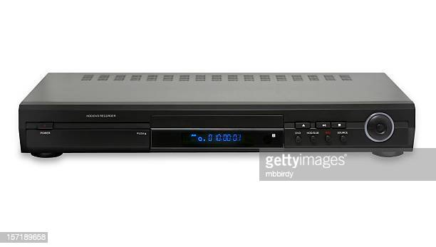 dvd hdd recorder&player, isolated on white background - dvd player stock photos and pictures