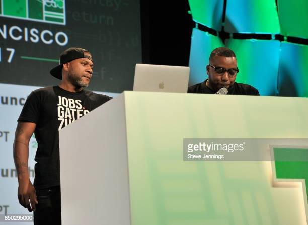 RecordGram CoFounders Shawn MIMS and Winston 'DJ Blackout' Thomas speak onstage during TechCrunch Disrupt SF 2017 at Pier 48 on September 20 2017 in...
