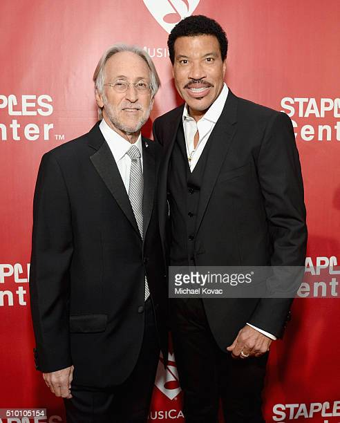 Recording Academy and MusiCares President/CEO Neil Portnow and honoree Lionel Richie attend the 2016 MusiCares Person of the Year honoring Lionel...