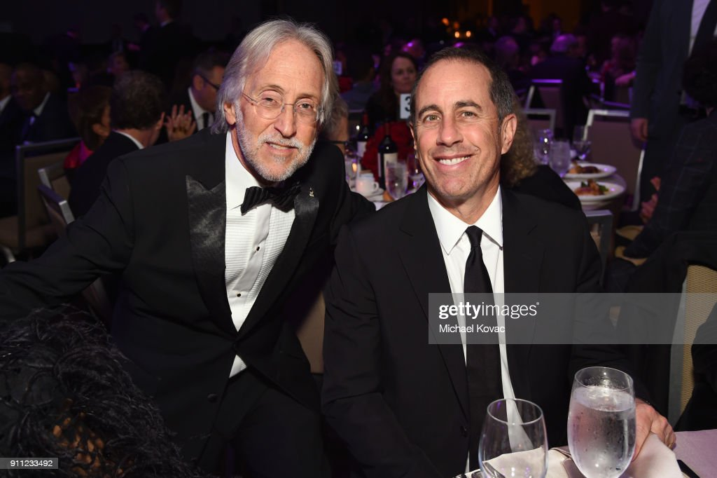 Recording Academy and MusiCares President/CEO Neil Portnow and comedian Jerry Seinfeld attend the Clive Davis and Recording Academy Pre-GRAMMY Gala and GRAMMY Salute to Industry Icons Honoring Jay-Z on January 27, 2018 in New York City.