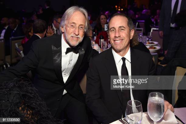 Recording Academy and MusiCares President/CEO Neil Portnow and comedian Jerry Seinfeld attend the Clive Davis and Recording Academy PreGRAMMY Gala...