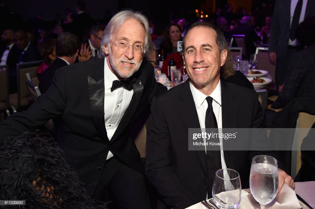 Recording Academy and MusiCares President/CEO Neil Portnow (L) and comedian Jerry Seinfeld attend the Clive Davis and Recording Academy Pre-GRAMMY Gala and GRAMMY Salute to Industry Icons Honoring Jay-Z on January 27, 2018 in New York City.