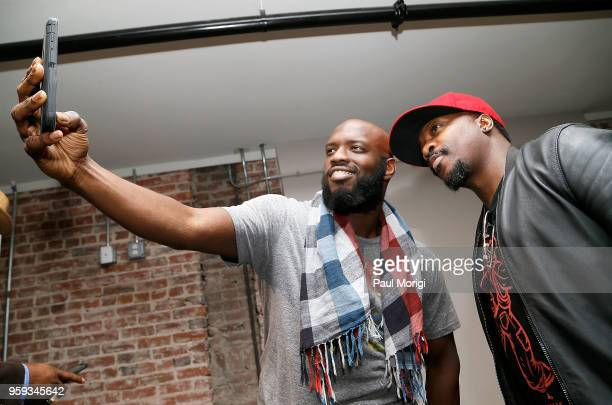 Recording Academy member takes a selfie with singer songwriter and producer Anthony Hamilton at the Vocal Health Clinic event hosted by The Recording...