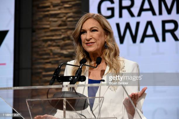 Recording Academy president and CEO Deborah Dugan and Chair speaks onstage at the GRAMMY Nominations Press Conference at CBS Studios on November 20...