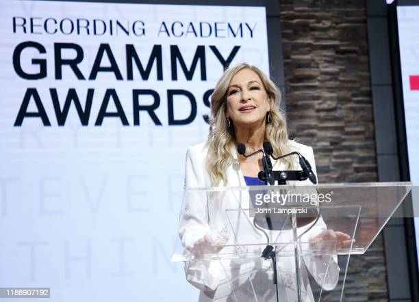 Recording Academy president and CEO Deborah Dugan Speaks at the 62nd Grammy Awards Nominations at CBS Broadcast Center on November 20 2019 in New...