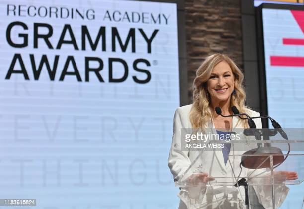 Recording Academy president and CEO Deborah Dugan speaks during the 62nd Grammy Awards Nominations Conference at CBS Broadcast Center on November 20...