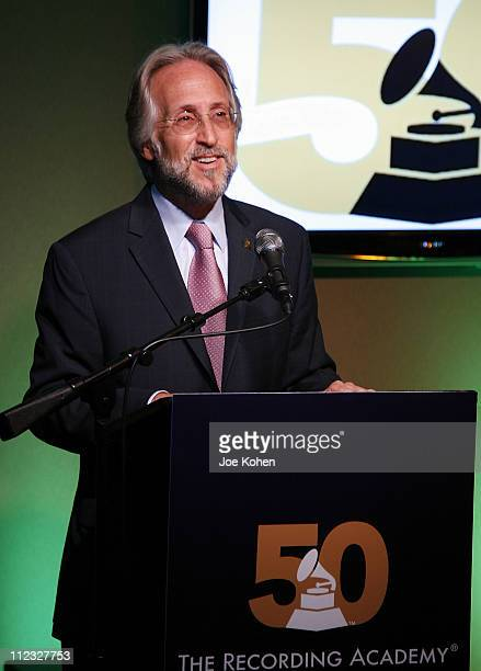 Recording Academy President and CEO Neil Portnow speaks at the New York Chapter of the National Academy of Recording Arts and Sciences Open House...