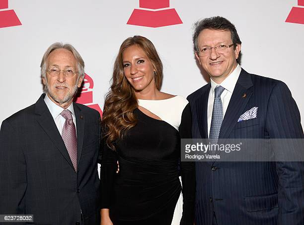 Recording Academy President Neil Portnow, Iris Oliveros, and President of the Latin Recording Academy Gabriel Abaroa attend the 2016 Latin Recording...