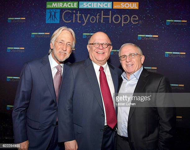 Recording Academy President Neil Portnow Spirit of Life Award recipient Joel A Katz and Azoff MSG Entertainment Cahirman and CEO Irving Azoff attend...